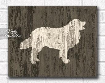 Golden Retriever Print - PRINTABLE Rustic Dog Print - Wood Style Golden Retriever Art - Golden Retriever Poster - Golden Retriever Gifts