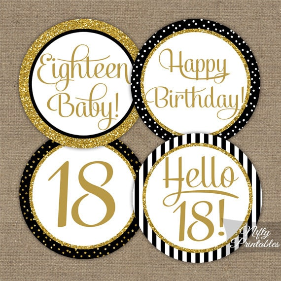 18th Birthday Cupcake Toppers Black & Gold Glitter 18th