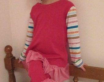 Knit  ruffle girls outfit / aztec print / leggings / shirt dress