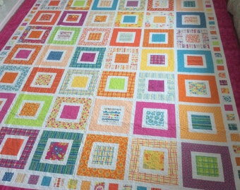 Square in Square Patchwork Quilt // Modern Quilt // City : square patchwork quilt - Adamdwight.com