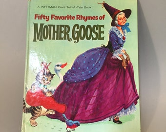 VINTAGE MOTHER GOOSE Nursery Rhymes,Favorite Mother Goose nursery rhymes, 1963 vintage Mother Goose, vintage poem book, book for children