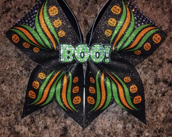 Halloween cheer bow, Cheer bow, halloween bow, pumpkin, 3D boo center, rhinestone bow