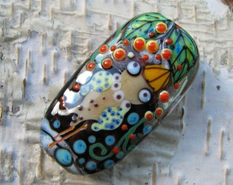 "Handmade Lampwork glass pendant, Lampwork glass focal bead, ""Bird"""