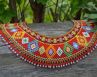Beaded NECKLACE Bead Necklace Jewelry Traditional Ukrainian Folk Gerdan