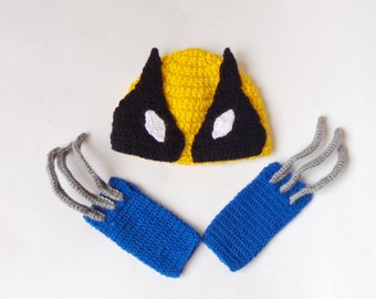 Wolverine Marvel Costume Hat And Gloves, Wolverine Beanie Superhero Newborn Child X-Men - Halloween Wig / Cosplay Wig/ Baby Shower Gift