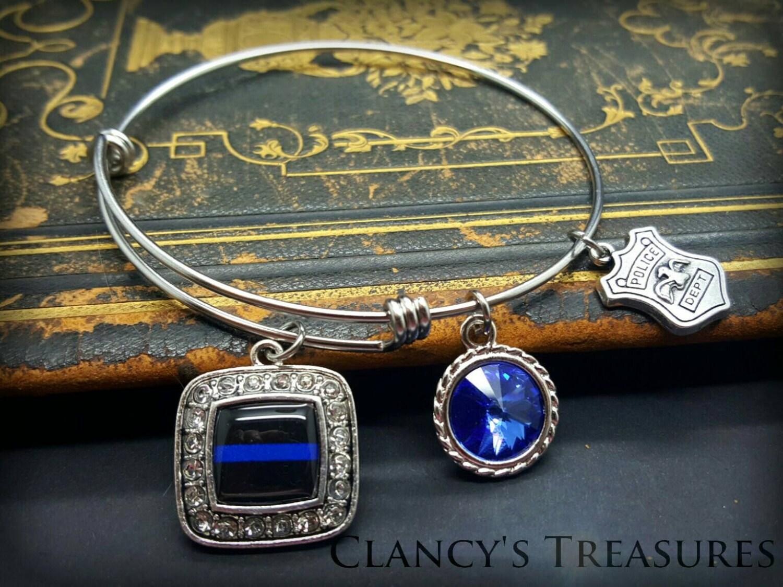 bangle bracelet thin blue line bracelet police jewelry. Black Bedroom Furniture Sets. Home Design Ideas
