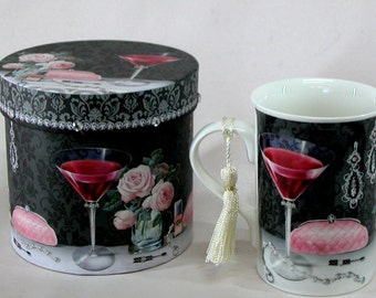 Gift Boxed Coffee Cup  in Wine & Rose Design