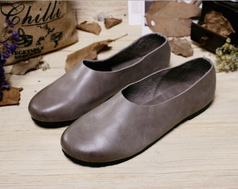 Handmade Gray Soft Shoes,Oxford Women Shoes, Flat Shoes, Retro Leather Shoes, Slip-ons, Loafers, Ballet Shoes