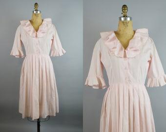 Pink Bon Bon Dress / 50s Dress / 1950s Dress / Pink Dress