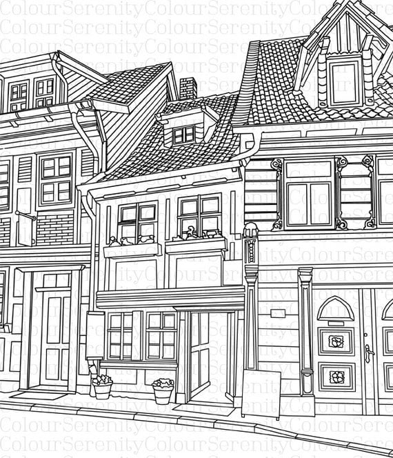 Coloring pages buildings ~ Buildings Printable Instant Download Adult Colouring Page 42