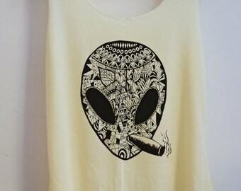 CLEARANCE Alien Aztec Punk Tank top Pop Punk Rock Tank Top Vest Women T shirt lady T-Shirt Size S,M,L-
