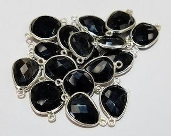 Sterling Silver Free Form Black Onyx Bezel Connector, Sterling or 18K Vermeil
