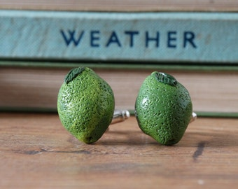By the Shed Lime Citrus Fruit Cufflinks - Rhodium Plated - Allotment - Vegetarian - Gardening - Vegetable - Fruit - Lime Green