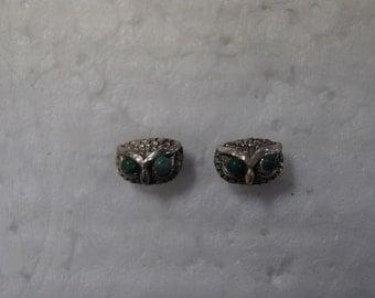 Sterling Silver Owl Designed Earrings - Forest Green