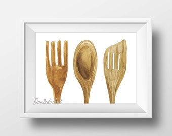 Rustic Kitchen decor Kitchen wall art print Wooden utensils printable Watercolor wooden spoon Wood utensil art Fork Spatula 5x7 8x10 16x20