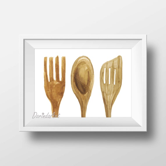 Wooden Utensil Wall Decor : Rustic kitchen decor wall art print wooden utensils