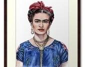 Hommage an Frida Kahlo - Kunstdruck A4 - 20 x 30 cm