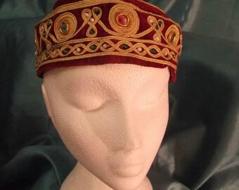 boho/hippy/festi/ red Indian fez style HAT with gold shisha embellishment-