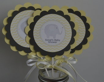 Baby Shower Elefante Amarillo ~ Decorated elephant themed baby shower cookies custom grey yellow