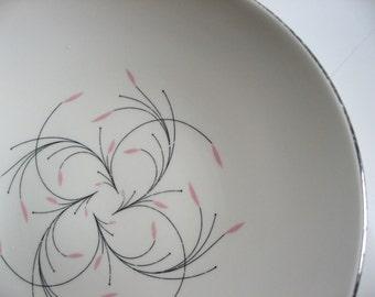 Homer Laughlin Rhythm Series Capri coupe bowl. Pink and black swirls, platinum rim. Mid Century Modern.