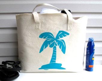 Cotton Canvas Tote, Cotton Tote, Beach Tote, Palm Tree Tote, Wedding Tote Bag, Market Tote, Shopping Tote