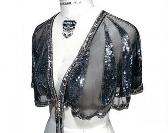 Nocturne 1920's HARLOW Beaded Flapper Wedding Shawl CAPELET by The Deco Haus