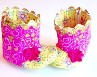 Pink gold and yellow baby girl booties, hearts and flowers, great baby gift!  Princess booties