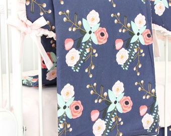 Berkeley's Blush and Navy Floral Baby Blanket | Watercolor, Mint , Pink, Navy & Floral Teething Guard | Sweet Floral Baby Girl Crib Bedding