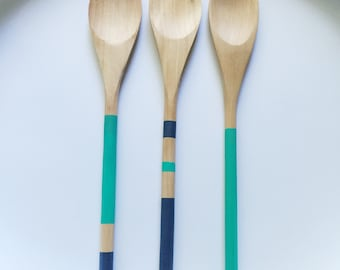 Painted Wooden Spoon-Blue Collection
