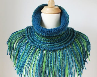 Crochet Scarf, Boho Shawl, Turquoise Cowl, Teal Green Neck Warmer with Fringe, Unique Handmade Bohemian Clothing, Peacock Colours