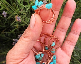 Turquoise Copper Wire Wrapped Ring