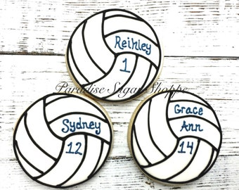 One Dozen Volleyball Cookies with Name and Number