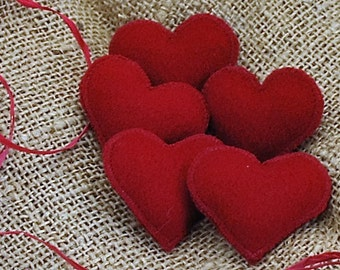 Five Red Felted Wool Heart Pins. Great addition to your gift giving.