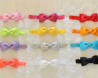 12 Pcs Baby Toddler Girls Multi-color Headbands,Double Layer Hair Bows,Headwear,Hair accessories,Grosgrain ribbon,Handmade