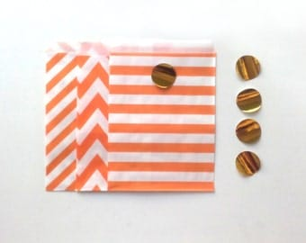 24 Orange Paper Bags Party Goodies Sweets in 3 designs with gold stickers