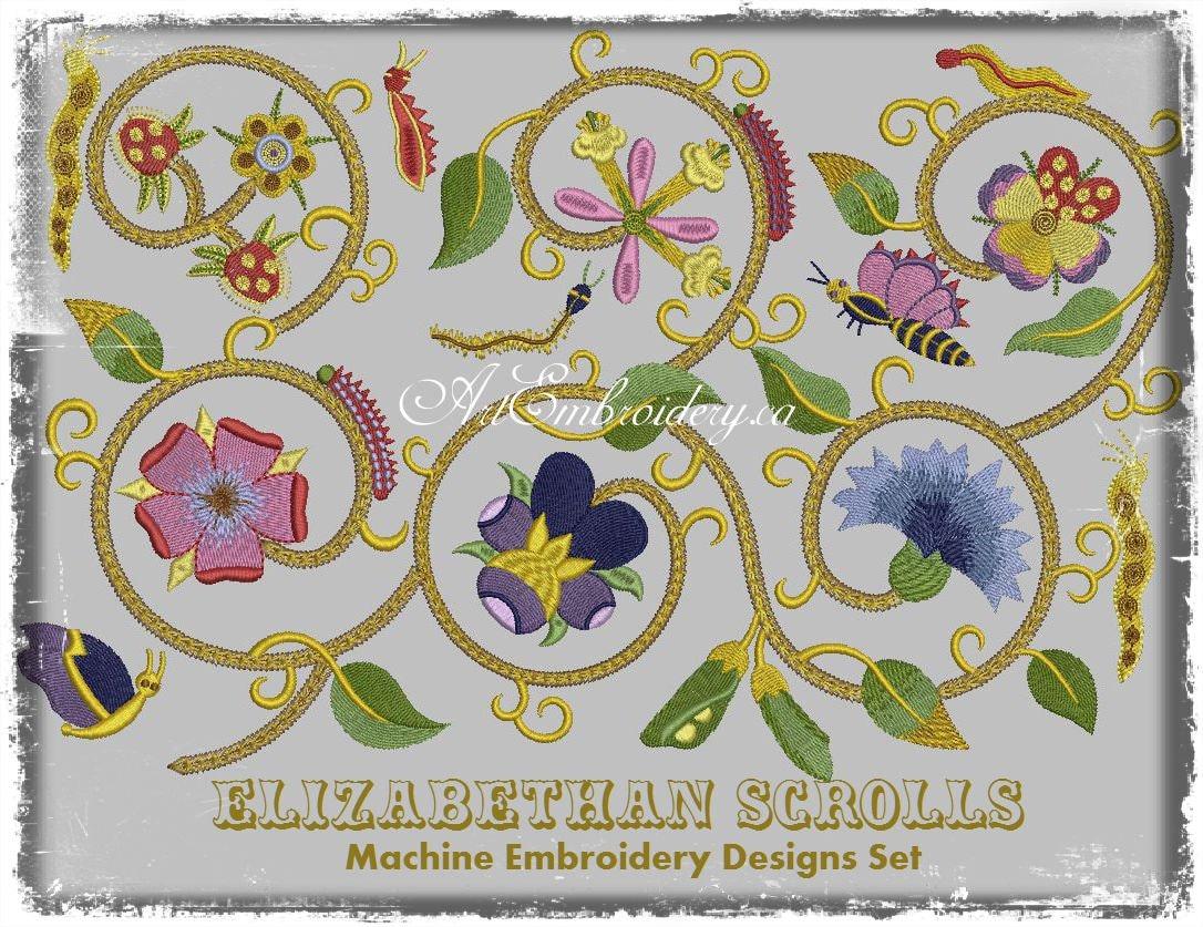 Elizabethan Scrolls 16 Century Goldwork Imitation Embroidery