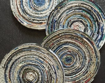 Rolled Recycled Paper Coasters-Set of 4