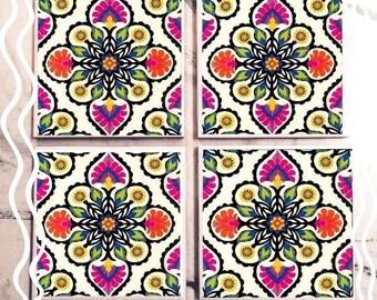 Symmetric Floral Tile Coasters