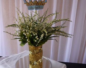 Royal Prince Centerpiece Stick/ Little Prince  Blue and Gold crown 3 stick ready to use/Crown/ Crown centerpieces stick