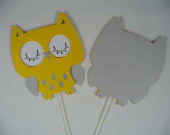 Owl Yellow/ Owl Baby shower/ Owl Yellow and Gray/ Owl Baby shower/Owl centerpieces stick