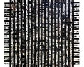 Black Weaving Print- Black and White, Crossword Collage- 9x9- Square- Modern, Contemporary Decor
