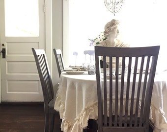 Washed Linen Single Ruffle Table Cloth Shabby Cottage Chic Cream Wedding Linen Custom Table Cover