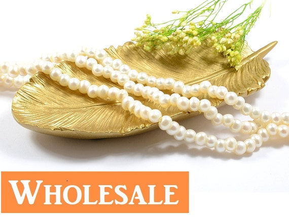 5mm - 6mm, Large Hole Pearl WHOLESALE, 2.5mm Hole, Genuine Freshwater Pearls,  Natural Round, Natural White Color -85+ Pcs/ Pkg