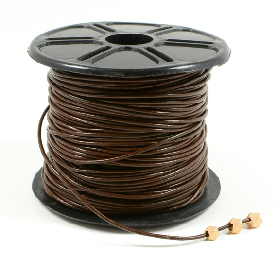 1mm leather cord in brown, fine genuine leather cord - 1 yard/order
