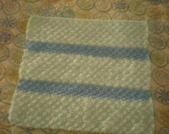 Handknit Baby Blanket, Knit Bassinet Blanket, Handknit Stroller Blanket, Infant Baby Blanket