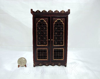 """Miniature 1:12"""" Scale Doll House Mahogany Casbah Armoire"""