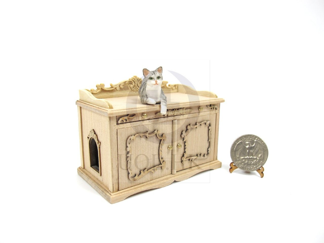miniature 1 12 scale cat litter box cover and cabinet for doll. Black Bedroom Furniture Sets. Home Design Ideas