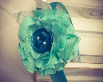 HELP EARTHQUAKE Italy-headband with fabric flower and button-various colors