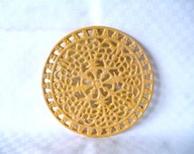 SUMMER SALE Vintage French Enameled Cast Iron Trivet - Bright Yellow
