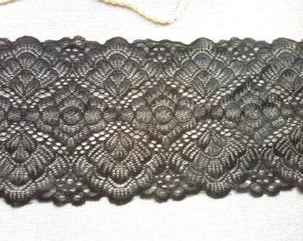"black  flower Lace trimming,Stretch Lace Trim - Extra Wide Lace Trim, 6.5"" Wide Lace Trim- off white/black"